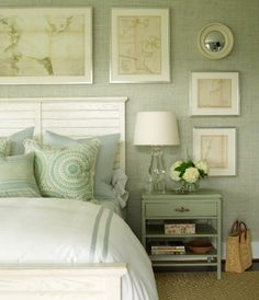 This shade of green is so relaxing for a bedroom