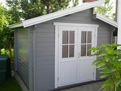 Gartenhaus in Grau und Weiß