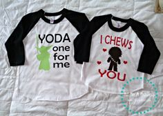 Yoda One For Me & I Chews You {Valentine's Day Star Wars} shirt by Fit For A Princess. Shop online at www.ffaprincess.com.