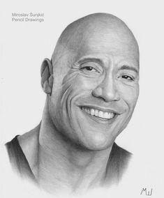 Realistic Portrait Drawing The Rock - Dwayne Johnson pencil portrait by Miroslav Sunjkic the Pencil Maestro Pencil Sketches Landscape, Abstract Pencil Drawings, Celebrity Drawings, Celebrity Portraits, Portrait Sketches, Pencil Portrait, Realistic Drawings, Cool Drawings, Drawing Sunset