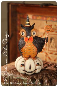 Perched Owl on a Pumpkin by folk artist Johanna Parker for Bethany Lowe Designs - new for Fall 2013