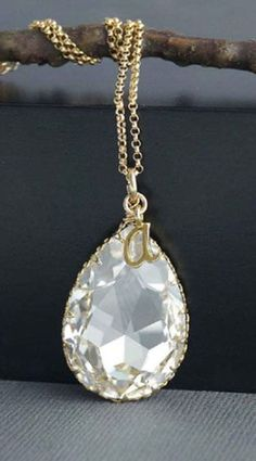 Initial Jewelry, Personalized Large Crystal Pendant with Gold Initial
