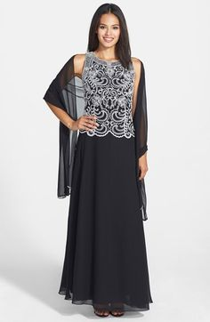 mother of the bride dress? J Kara Embellished Bodice Chiffon Gown & Shawl (Regular & Petite) available at #Nordstrom