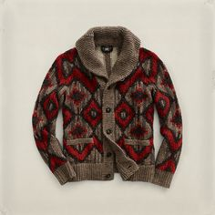 Patterned knit cardigan with cowl neck by Ralph Lauren Japan.