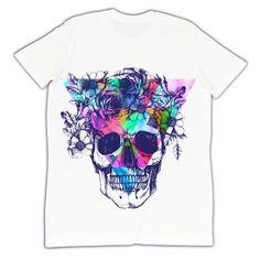 T-shirt He e She UOMO - color skull  illustration moopsi -- http://www.shutterstock.com/pic-279900992/stock-photo-human-skull-and-flower-wreath-los-muertos-raster-illustration.html?src=irjPjpNutn_kQgNzfowgMw-1-3
