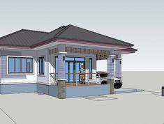 Modern Bungalow House, Bungalow House Plans, House Floor Plans, Flat House Design, Simple House Design, Philippines House Design, Free House Plans, Three Bedroom House Plan, Architectural House Plans