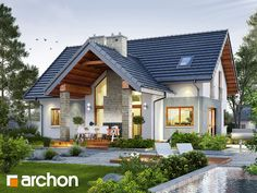 By archon+ projekty domów is part of Facade house - Here you will find photos of interior design ideas Get inspired! Modern House Facades, Modern Architecture House, Architecture Design, Design Exterior, Luxury House Plans, Cottage Style Homes, Prefab Homes, Facade House, Home Fashion