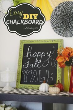 Chalkboards are a perfect way to decorate your home and can be changed with the seasons. This easy DIY chalkboard tutorial will help you make your own!