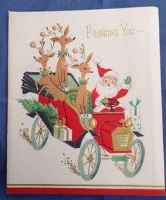 Vintage Christmas Card 1950s Santa in Car Reindeer w/ Pink Ornaments on Antlers