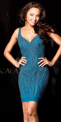 Cascading Sequin Embellished Cocktail Dress by Scala #edressme