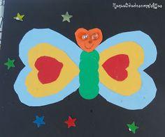 Manualidades con mis hijas. Mariposa de cartulina. Kids craft. Buterfly card