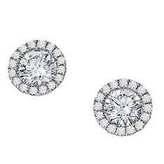 Encore Earrings  14K White gold diamond earrings available with birthstones
