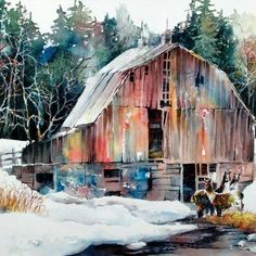 Barn in snow: Lian Quan Zhen