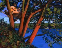 Guitar Player (in a madrone) 54x70  Kurt Solmssen