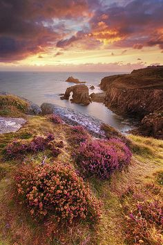 Sunset over Land's End, Cornwall, England, UK. by Jarrod Castaing