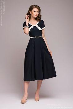 Платье темно-синее с белой отделкой в интернет-магазине 1001 DRESS