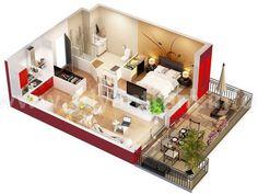 10 Departamentos de diseño y planos pequeños