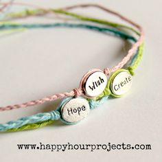 pretty DIY word bracelets