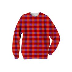 RED PURPLE AND ORANGE ON TREND #PLAID PRINT sweat shirt from Print All Over Me #fashion #tops