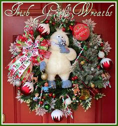 From Rudolph the Red-Nosed Reindeer, a Bumble Abominable Snow Monster Christmas Wreath.