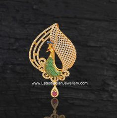 Stylish designer gemstones pendant in peacock design crafted in 22 karat gold from Navrathan jewellery. Gold Chain Design, Gold Jewellery Design, Cz Jewellery, Mens Gold Jewelry, Womens Jewelry Rings, Locket Design, Peacock Jewelry, Jewellery Sketches, Gold Pendants