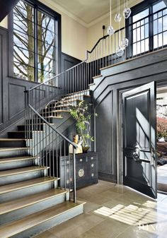 Amazing Staircase in a Contemporary Black Foyer with Walnut Paneling Transitional Living Rooms, Transitional Decor, Transitional Kitchen, Design Your Home, House Design, Deco Studio, Interior And Exterior, Interior Design, Room Interior