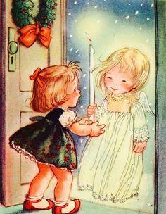 Vintage Christmas Card. Angel Girls. Christmas Angels. Retro Christmas Card.