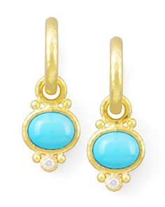 Turquoise & Diamond Earring Pendants by Elizabeth Locke at Neiman Marcus.