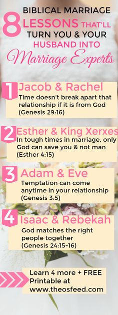 Totally LOVED these 8 Biblical marriage lessons! I'm SO glad I found this! Marriage advice from the Bible is the best! I feel like I know SO MUCH more about what a real marriage should be like! Marriage can be SO great with Christ. Definitely pinning! #marriage #relationshipgoals #GOALS #LOVE