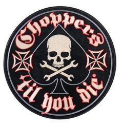 CHOPPERS SKULL SPADE EMBROIDERED 3.5 INCH IRON ON MC BIKER  PATCH
