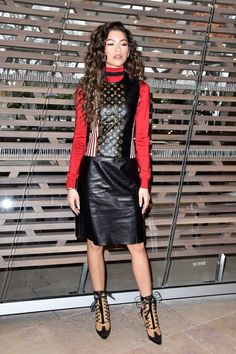 Pin for Later: Alicia Vikander's Show-Stopping Outfit, and 30 More Highlights From Louis Vuitton's Paris Show Zendaya Slayed in Some Leather Werk it, werk it!