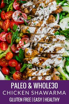 A chicken shawarma salad that will quickly become your favorite summer dish. It is reminiscent of a chicken shawarma dish you'd order at any fabulous Greek restaurant and is packed full of flavor thanks to the fresh parsley and mint Best Paleo Recipes, Whole 30 Recipes, Whole Food Recipes, Free Recipes, Whole 30 Chicken Recipes, Whole Foods, Paleo Salad Recipes, Paleo Menu, Paleo Dinner