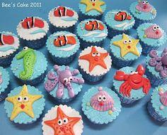 First Birthday Party Ideas - sea animal cupcakes
