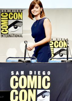 Jenna Coleman walks onstage during BBC America's official panel for 'Doctor Who' during Comic-Con International 2015.