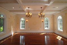 Golden raised plaster stencils, hand applied gold leaf on ceiling ornamental moldings