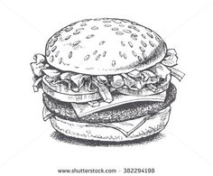 of a burger, vector drawing ,illustration of a burger, vector drawing , Hand-drawn burger and fries Burger Drawing, Food Drawing, Food Illustrations, Illustration Art, Burger Vector, Food Sketch, Art Drawings Sketches, Crayon, Vector Art