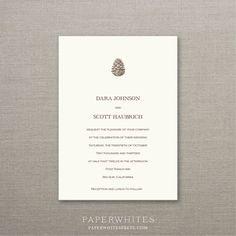 Pinecone Wedding Invitations Sample Set by paperwhitespress, $5.00