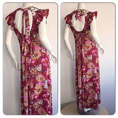 Vintage Sequin Maxi Dress / Colorful Floral by brentedwardvintage