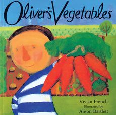 'Oliver's Vegetables' by Vivian French is a wonderful tale about a boy who only eats chips! That is until he plays a game with his Grandpa, & whatever vegetable Oliver finds in the garden he must eat. Oliver finds carrots on Monday, spinach on Tuesday, rhubarb on Wednesday, etc. Great for introducing planting, different vegetables, & days of the week. Could be useful for fussy eaters too.