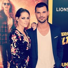"""Oh, right, TAYLOR LAUTNER, i.e. JACOB BLACK FROM TWILIGHT.   Kristen Stewart Brought Taylor Lautner To The Premiere Of """"American Ultra"""""""
