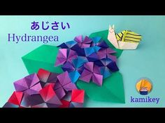 Jpapanese Origami creator kamikey' s original origami works and traditional models. I like to create kawaii origami. Paper Origami Flowers, Origami 3d, Diy And Crafts, Paper Crafts, Origami Tutorial, Diy For Kids, Hydrangea, Projects, Cards