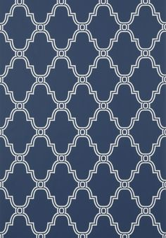 Stanbury Trellis #wallpaper in #navy.  Simple Stanbury Trellis brings harmony to a room with subtle pattern and pretty curves. Colorways include neat pairings like green and navy and linen and aqua, as well as classic Thibaut color palette solids with white. #Thibaut