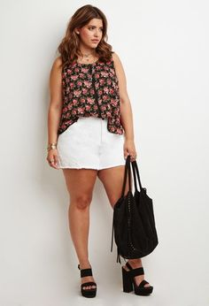 Buttoned Rose Print Top | Forever 21 PLUS - 2000154123