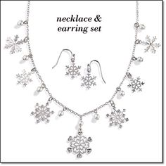 "Filigree Snowflake Necklace & Earring Set - Silvertone, 16 1/2"" L necklace includes 3 1/2"" L extender, 1"" L pierced earrings. Buy this set online at http://eseagren.avonrepresentative.com/"