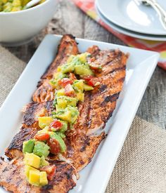 This grilled Cajun salmon recipe is the perfect healthy BBQ recipe for all your summer grilling get togethers! Healthy Bbq Recipes, Grilling Recipes, Great Recipes, Dinner Recipes, Cooking Recipes, Favorite Recipes, Healthy Dinners, Yummy Recipes, Mango Salsa Recipes