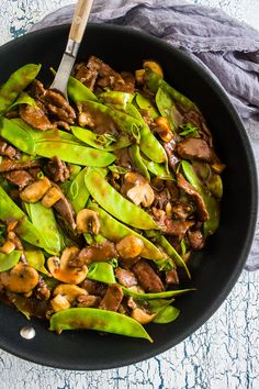 This 20 minute beef snow pea skillet is the perfect fast weeknight meal with a little takeout fake-out feel. Made all in one skillet and easily served alone or on top of rice. You'll love how easy and delicious this meal is to make!