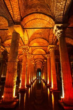 The largest of hundreds of ancient cisterns that lie under Istanbul.  Image Source: Shutterstock