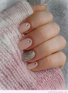 Nude and silver Christmas nails