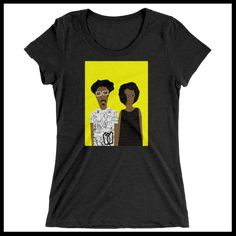 Women's T-shirt - Graffiti man Black dress woman with yellow background http://www.houseofterrance.com/patrick-earl-for-hot-fashions/womens-t-shirt-graffiti-man-black-dress-women-with-yellow-background