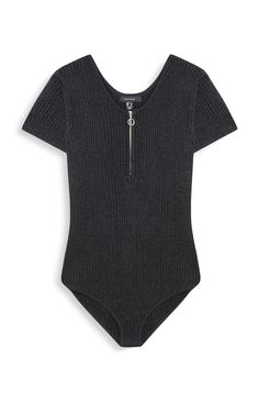 Gray bodysuit with zipped sequins - Leotards Cool Outfits, Summer Outfits, Casual Outfits, Fashion Outfits, Estilo Fashion, Ideias Fashion, Cute Bodysuits, Primark, One Piece Clothing